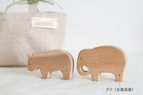 木のおもちゃのベビーセット ゾウとくまの積み木