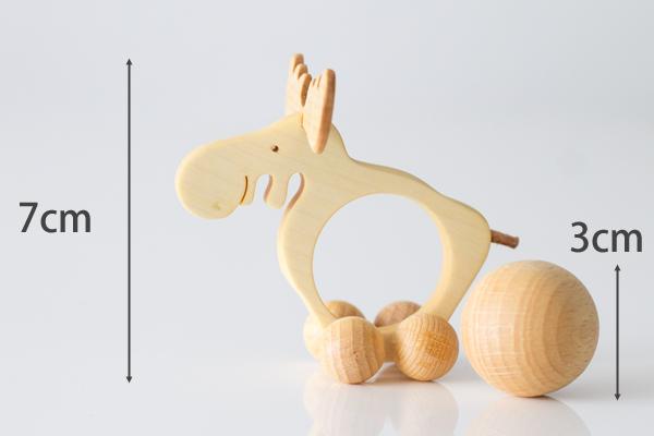 ドイツ木のおもちゃコロコロトナカイサイズ表記