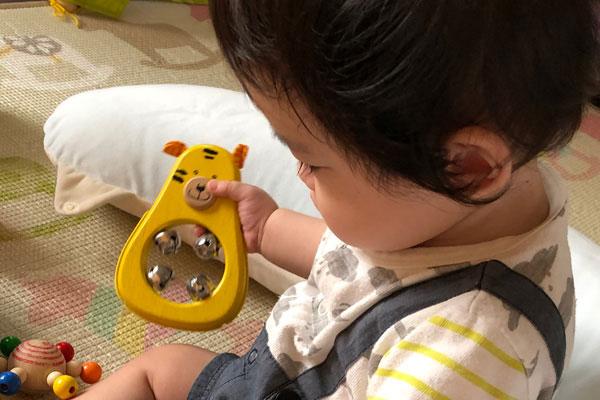 タイガーで遊ぶ子ども
