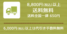 6000円以上代引手数料無料